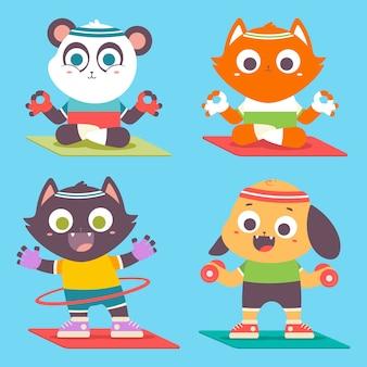 Filhote de animais fofos fazendo ioga e exercícios físicos