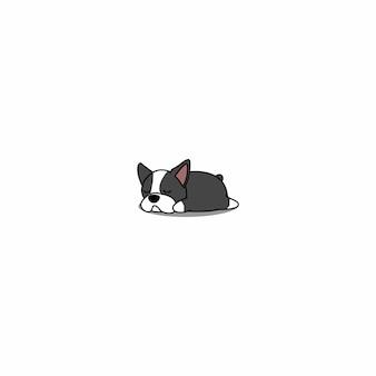 Filhote de boston terrier bonitinho dormindo cartoon