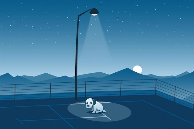 Filhote de cachorro abandonado sozinho em uma cena de estacionamento