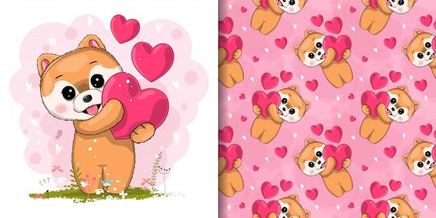 Filhote de cachorro bonito com coração