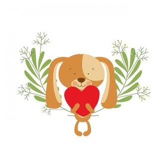 Filhote de cachorro bonito com corações nas mãos