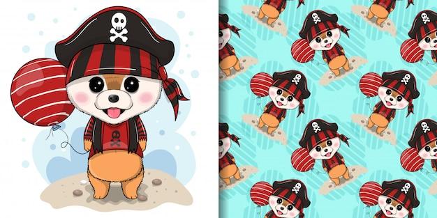 Filhote de cachorro bonito com costume pirata