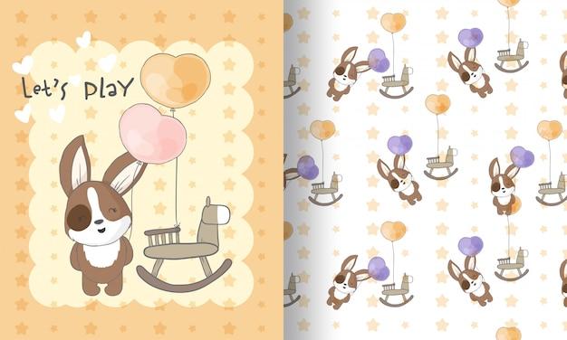 Filhote de cachorro bonito com ilustração de padrão sem emenda de brinquedo para crianças