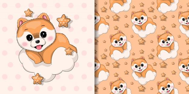 Filhote de cachorro bonito com nuvens e estrelas