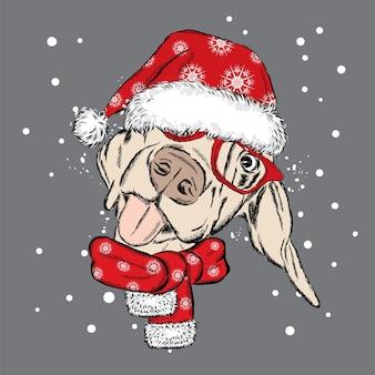 Filhote de cachorro bonito com um chapéu de natal e óculos escuros. ilustração vetorial