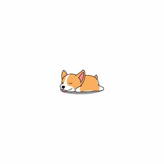 Filhote de cachorro bonito corgi welsh dormindo cartoon