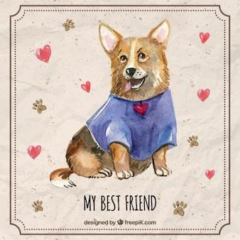 Filhote de cachorro bonito da aguarela com uma t-shirt