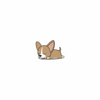 Filhote de cachorro bonito da chihuahua que dorme desenhos animados