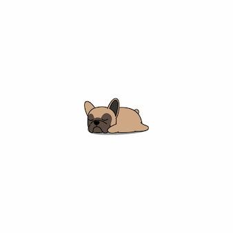 Filhote de cachorro bonito do buldogue francês que dorme desenhos animados