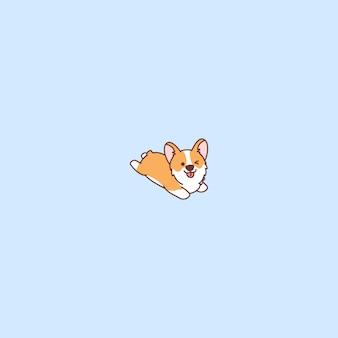 Filhote de cachorro bonito do corgi que encontra-se o alvorecer e que pisca desenhos animados do olho