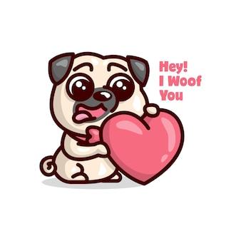 Filhote de cachorro bonito do pug que sorri e segura uma ilustração vermelha do coração com texto. ilustração do dia de valentim.