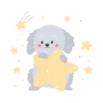 Filhote de cachorro bonito dos desenhos animados com estrela cão labradoodle desenhado à mão