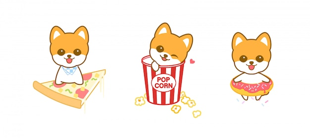 Filhote de cachorro bonito dos desenhos animados e design de alimentos