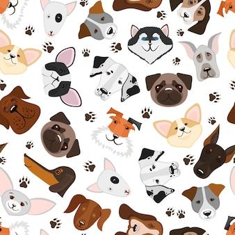 Filhote de cachorro bonito e padrão sem emenda de raça misturada de cachorro. fundo com cão de raça, ilustração