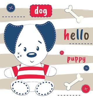 Filhote de cachorro bonito em um cartão postal com a inscrição