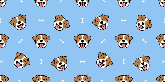 Filhote de cachorro bonito jack russell terrier sorrindo desenho animado padrão sem emenda, ilustração vetorial