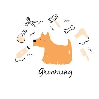 Filhote de cachorro bonito pet grooming.