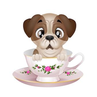 Filhote de cachorro bonito pug cartoon sentado na xícara