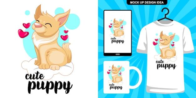 Filhote de cachorro bonito sente-se na ilustração de nuvem e merchandising
