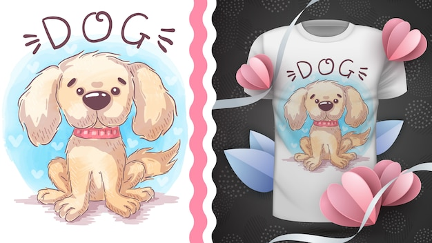 Filhote de cachorro da aguarela - ideia para imprimir camiseta