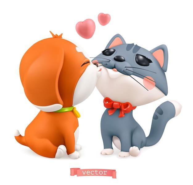 Filhote de cachorro e gatinho. ilustração 3d do dia dos namorados