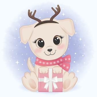 Filhote de cachorro fofo com caixa de presente ilustração de natal