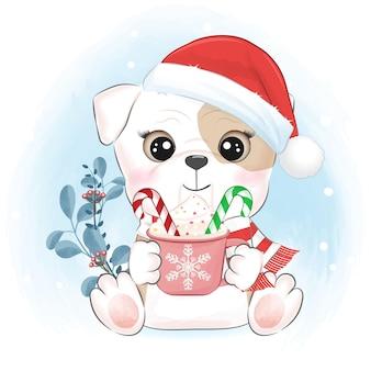 Filhote de cachorro fofo com uma xícara de chocolate quente ilustração de natal e ano novo