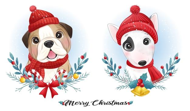 Filhote de cachorro fofo de doodle para o natal com ilustração em aquarela