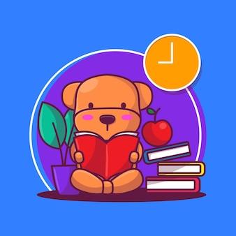 Filhote de cachorro fofo lendo uma ilustração vetorial de livro
