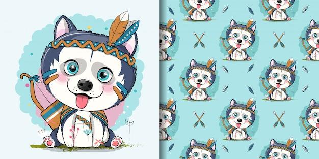 Filhote de cachorro husky bonito dos desenhos animados com costume apache