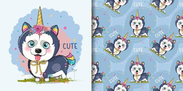Filhote de cachorro husky bonito dos desenhos animados com costume de unicórnio