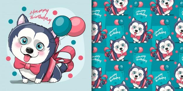 Filhote de cachorro husky bonito dos desenhos animados com fita e balões