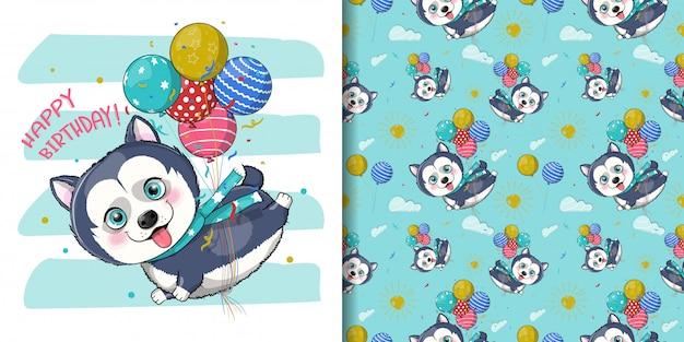 Filhote de cachorro husky bonito dos desenhos animados, voando com balões