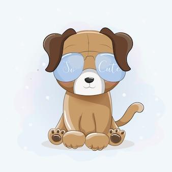 Filhote de cachorro legal bonito dos desenhos animados com óculos de sol