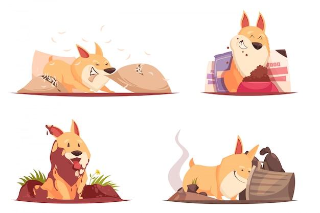 Filhote de cachorro na ilustração de diferentes situações