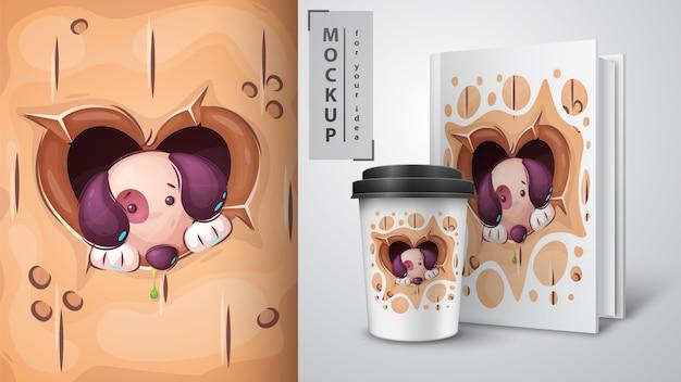 Filhote de cachorro no buraco do coração - cartaz e merchandising.