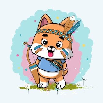 Filhote de cachorro tribal bonito dos desenhos animados com penas
