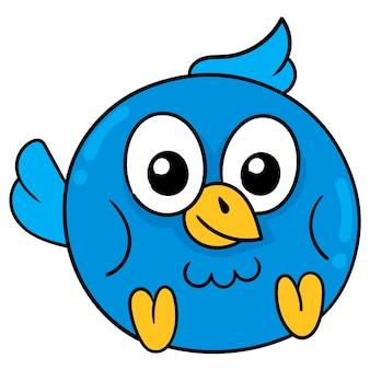 Filhote de coruja azul bonito com olhos grandes, emoticon de caixa de ilustração vetorial. desenho do ícone do doodle