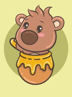 Filhote de urso em um pote de mel