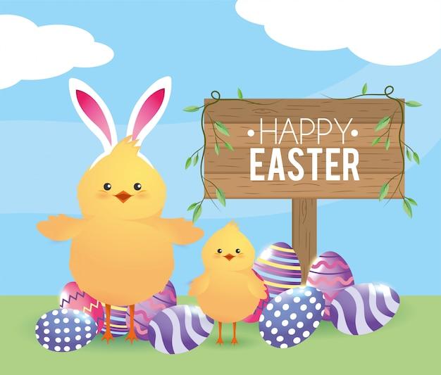 Filhotes com decoração de ovos de páscoa e diadema de orelhas de coelho