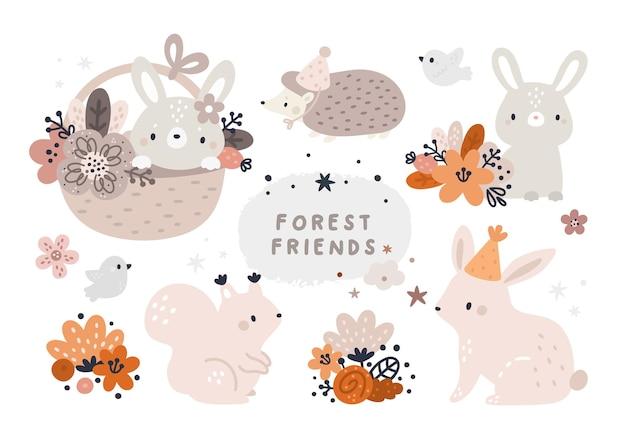 Filhotes da floresta em estilo escandinavo para crianças Vetor Premium