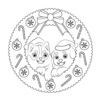 Filhotes de cachorro bonitos usando chapéu de papai noel na guirlanda de decoração de natal. página para colorir de crianças.