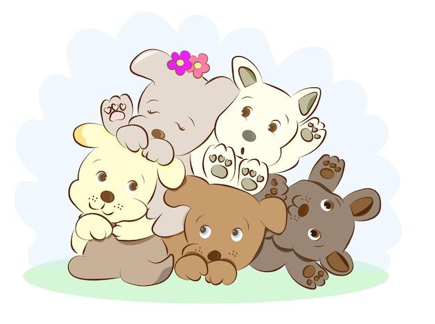 Filhotes de cachorro cute brincando