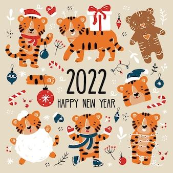 Filhotes de tigre engraçados no natal e no ano novo com fantasias de papai noel em estilo cartoon