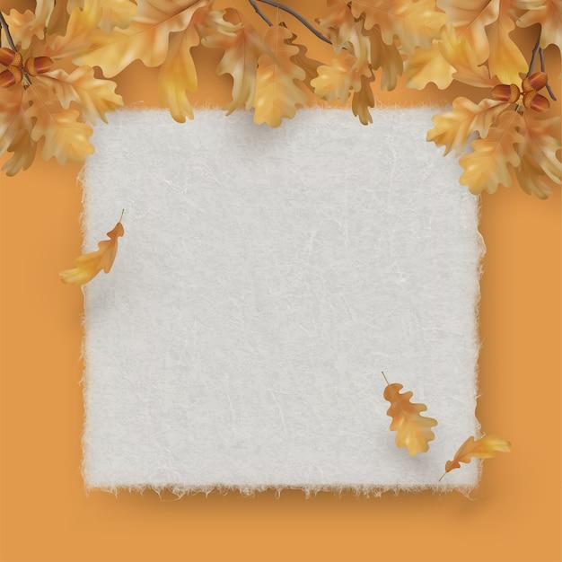 Filial de carvalho com folhas de papel de textura de folha em branco. outono