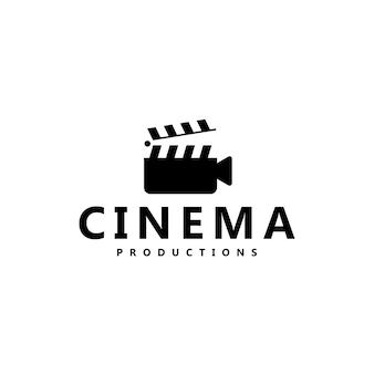 Film movie cinema productions design de logotipo de claquete de símbolo