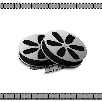 Filmadora com bobina de filme para gravação de filmes e vídeos isolados