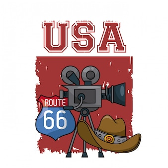 Filmadora de entretenimento americano com chapéu de cowboy e rota 66 sinal vector ilustração gráfico desig