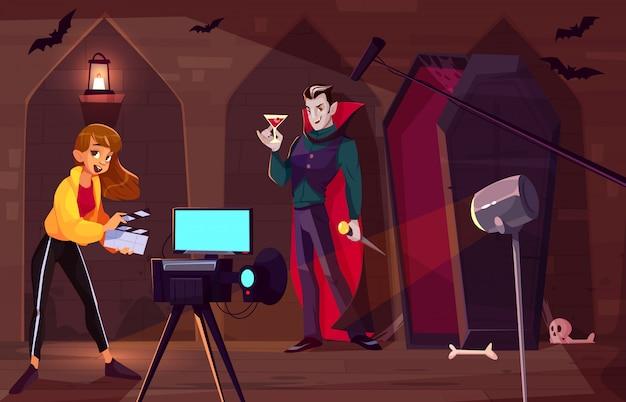 Filmando filme ou clipe sobre o conceito de desenhos animados de conde drácula.