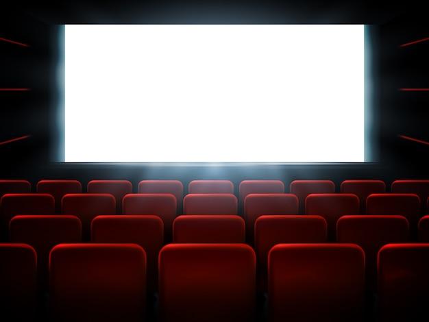 Filme cinema estréia cartaz design com tela branca.